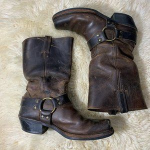 Frye Square-Toe Harness Distressed Brown Leather 9